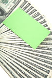Spread of cash with blank card for text royalty free stock photos