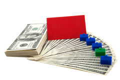 Spread of cash with blank card for text Stock Image