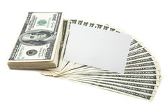Spread of cash with blank card for text Royalty Free Stock Images