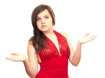 Spread her hands. Girl in red dress isolated on white background spread her hands Royalty Free Stock Photography