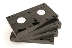 Spread out video tapes. Picture of a spread out video tapes Royalty Free Stock Images