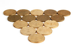 Spread out on a white background Ukrainian coins Stock Photography