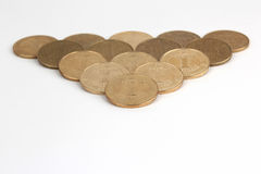 Spread out on a white background Ukrainian coins Royalty Free Stock Photos