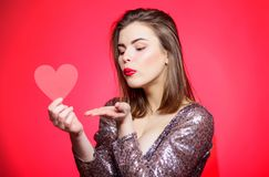 Spread romantic mood around. Air kiss. Love you so much. Woman attractive kiss face send love to you. Valentines day and. Romantic mood. Tender kiss from lovely stock photos