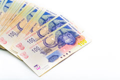 Spread of South African Notes close up Royalty Free Stock Photography