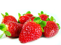 Spread strawberries. In white background stock photo