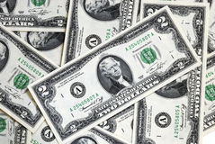 A spread of United States $2 dollar bills. A spread of $2 dollar bills Royalty Free Stock Images