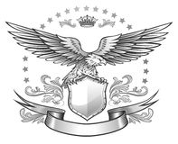 Spread winged eagle insignia. Eagle sitting on the shield black&white illustration Royalty Free Stock Image