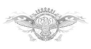 Spread winged eagle in ring insignia Stock Photo