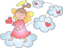 Spreading Love & Joy Angel/eps. Illustration of a little girl angel making a rainbow Stock Images