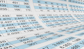 Spreadsheet. Lot of numbers on a spreadsheet (3d render Royalty Free Stock Photos