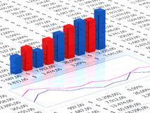 Spreadsheet with blue graph. Spreadsheet with blue and red graph bars with numbers in background Royalty Free Stock Image