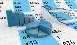 Spreadsheet and charts Stock Image