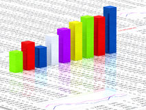 Spreadsheet with colorful graph. Bars with numbers in background Stock Image