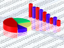 Spreadsheet with colorful graph. Bars and numbers in background Royalty Free Stock Photography