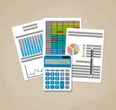 Spreadsheet concept. Business background. Spreadsheet concept. Business background with financial reports, calculator and pen. vector illustration in flat Stock Photo