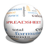 Spreadsheet 3D Sphere Word Cloud Concept Stock Image