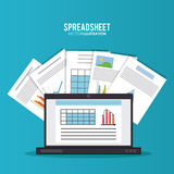 Spreadsheet design, business and infographic concept, Royalty Free Stock Photos