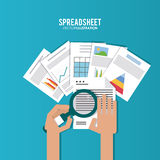 Spreadsheet design, technology and infographic concept. Spreadsheet concept with icon design, vector illustration 10 eps graphic Royalty Free Stock Image