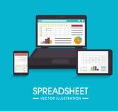 Spreadsheet design, vector illustration. Royalty Free Stock Photos