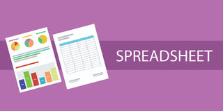 Spreadsheet document. Graph cell paper document  flat Royalty Free Stock Photography