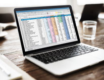 Spreadsheet Document Information Financial Startup Concept Stock Photography
