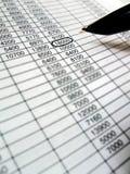 Spreadsheet, financial data analysis, black pen Stock Photo