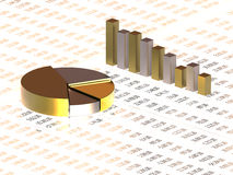 Spreadsheet with golden graph. And numbers in background Stock Image
