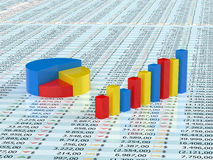 Spreadsheet with graph. Spreadsheet with blue,yellow  and red graph bars with numbers in background Royalty Free Stock Image