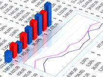 Spreadsheet with graph. Spreadsheet with blue and red graph bars with numbers in background Royalty Free Stock Photos