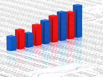Spreadsheet with  graph. Spreadsheet with blue and red graph bars with numbers in background Stock Photos