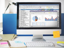 Spreadsheet Marketing Budget Report File Concept Royalty Free Stock Photos