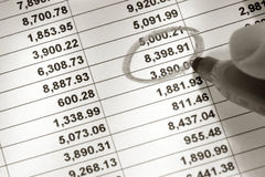 Spreadsheet and Number Circled with Marker stock photography