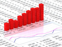 Spreadsheet with red graph. Bars with numbers in background Royalty Free Stock Image
