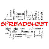 Spreadsheet słowa chmury pojęcie w czerwonych nakrętkach Fotografia Royalty Free