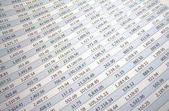 Spreadsheet spływanie dobro Zdjęcia Stock