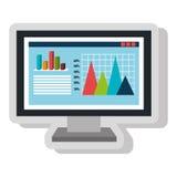 Spreadsheet with statistics graphics icon. Stock Photo