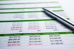 Spreadsheet table paper Finance development, Account, Statistics Investment Analytic research. Data stock image