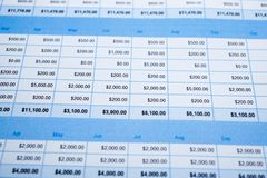 Spreadsheet table paper with pencil. Finance development, Banking Account, Statistics Investment Analytic research data. Spreadsheet table paper with pencil stock photography