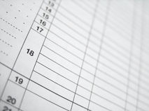 Spreadsheet Table (Tax Calculation) Royalty Free Stock Photo