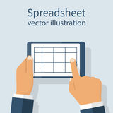 Spreadsheet on tablet screen. Designer keeps in the hands of the mobile device. Template for data reporting. Vector illustration flat design. Isolated on Stock Photography