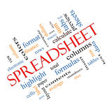 Spreadsheet Word Cloud Concept Angled Stock Photography