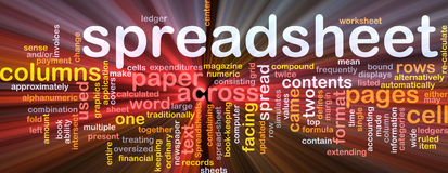 Spreadsheet word cloud glowing Stock Images