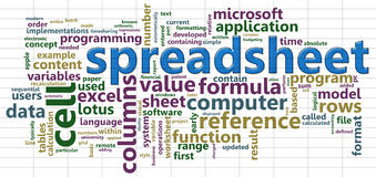 Spreadsheet wordcloud Royalty Free Stock Photos