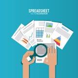 Spreadsheetontwerp, technologie en infographic concept stock illustratie