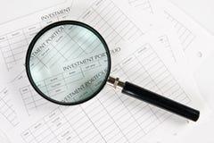 Spreadsheets do investimento Imagens de Stock