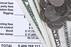 Spreadsheets with dollars Stock Photo