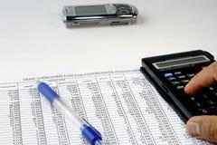 Spreadsheets revistos Imagens de Stock