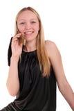 Sprechen eines Telefons lizenzfreies stockbild