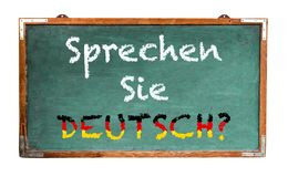 """""""Sprechen Sie Deutsch? † in Duitstalig, spreekt u het Duits? geschreven op een breed groen oud grungy uitstekend houten bord royalty-vrije illustratie"""